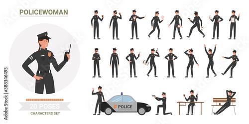 Police officer woman poses vector illustration set Fototapeta