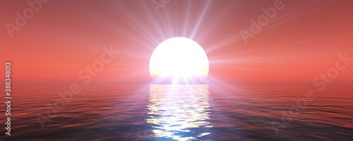 Fototapety, obrazy: sunset sea sun ray clear sky. 3d rendering