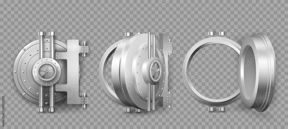 Fototapeta Bank safe vault door opening motion sequence animation. Metal steel round gate close, slightly ajar and open, isolated mechanism with welds and rivets. Gold and money storage, Realistic 3d vector set