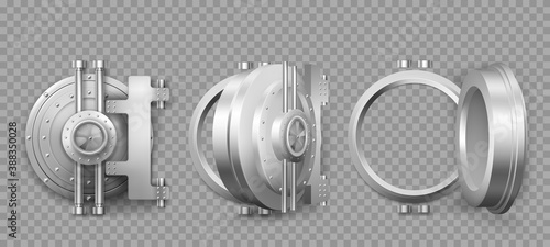 Fototapeta Bank safe vault door opening motion sequence animation. Metal steel round gate close, slightly ajar and open, isolated mechanism with welds and rivets. Gold and money storage, Realistic 3d vector set obraz