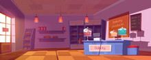 Bakery Shop Interior With Cake...