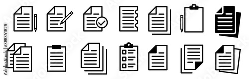 Document Symbol Set. Document vector icons isolated design. Paper document page icon. Edit document symbol, logo illustration. Flat style icons set.Vecor