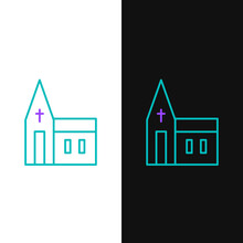 Line Church Building Icon Isol...