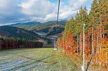 Autumnal Mountain Landscape With Chairlift In Bukovel Zakarpattia Ukraine