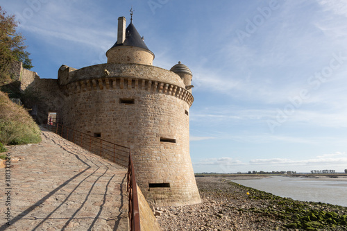 Tela Tower in the ramparts of Mont Saint-Michel at low tide