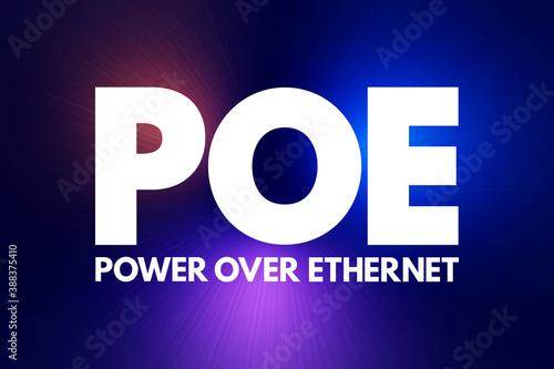 Fotografie, Obraz PoE - Power Over Ethernet acronym, technology concept background