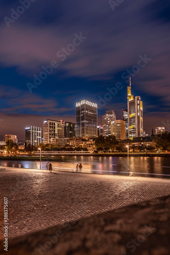 city skyline at night, people go for a walk on the main river Wall mural