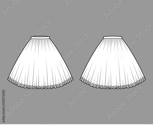 Cuadros en Lienzo Skirt tutu crinoline technical fashion illustration with knee silhouette, circular fullness, thin waistband