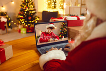 Santa Claus Video Calling Little Boy Or Using Spying Magic To See If Kids Are Naughty Or Nice