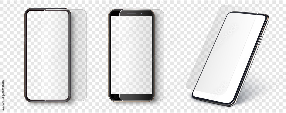 Fototapeta Screen Protector Glass. Transparent tempered glass shield for mobile phone. Smartphone screen and mobile with protection display coating. Mockup phone for visual ui app demonstration. Vector