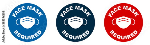 Obraz Set of face mask required vector signs. Facemask or covering must be worn in shops or public spaces during coronavirus covid-19 social distancing pandemic. Variety set of vector icons. - fototapety do salonu