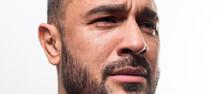 Closeup Man Crying Face. Tears...