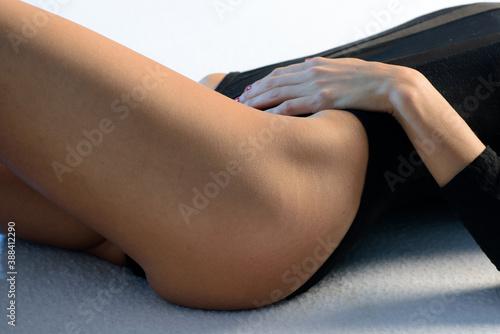 Obraz Women health. Beautiful healthy woman with fit slim body, black underwear. Body stomach care. - fototapety do salonu