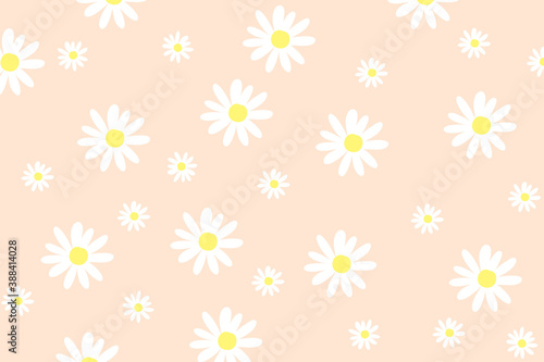 Canvas Print seamless background with daisy flowers