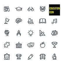 Education - Outline Icon Set Stock Illustration