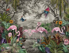 Wallpaper Jungle And Tropical Forest Banana Palm And Tropical Birds, Old Drawing