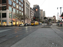 Twilight View Of Corner Of The Embarcadero St. And Folsom St. In San Francisco,California.