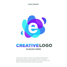 Letter E Logo With Colorful Sp...