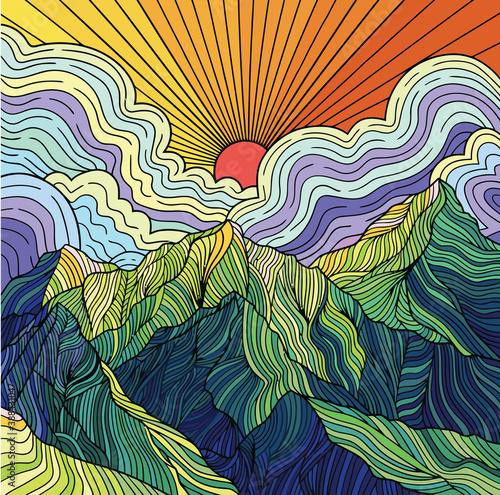 Plakaty kolorowe  zachod-slonca-za-gorska-ilustracja