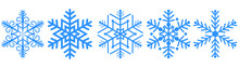 Blue Snowflakes Vector Set For Backgrounds, Holiday Party, Christmas Card And Other
