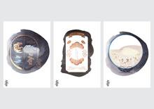 ๋Japanese Icon And Label With Black Texture Vector. Asian Poster With Wave Elements.