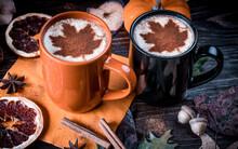Pumpkin Spice Latte. Milk Foam...