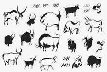 Hand Drawn Cave Animals Bulls....