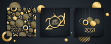 2021 Happy New Year Luxury Greeting Cards Set. New Year Holiday Invitations Templates Collection With Hand Drawn Lettering And Gold Christmas Balls. Vector Illustration.