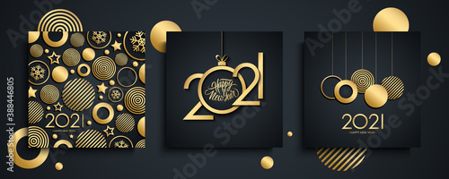 Obraz 2021 Happy New Year luxury greeting cards set. New Year holiday invitations templates collection with hand drawn lettering and gold christmas balls. Vector illustration. - fototapety do salonu
