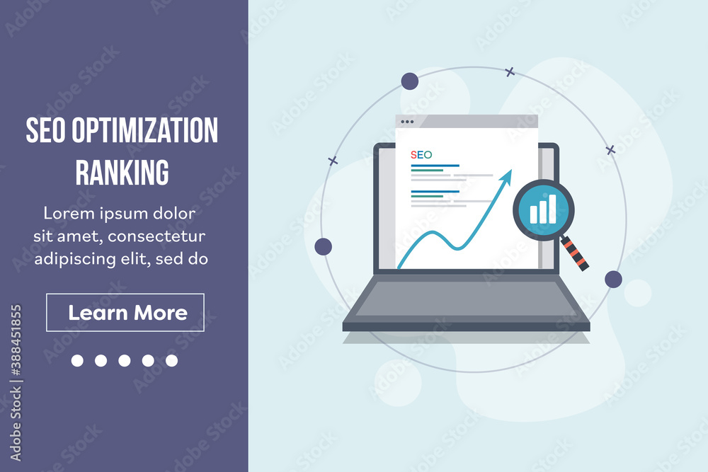 Fototapeta Seo optimization, search engine ranking, search engine result page displaying on laptop screen with magnifying glass and increasing graph. Landing page vector template.
