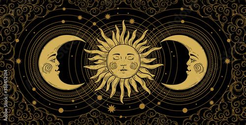 Mystical banner for astrology, tarot, boho design Fototapeta