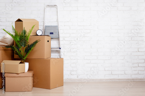Fototapeta moving day concept - cardboard boxes, houseplants and other things over white brick wall background obraz