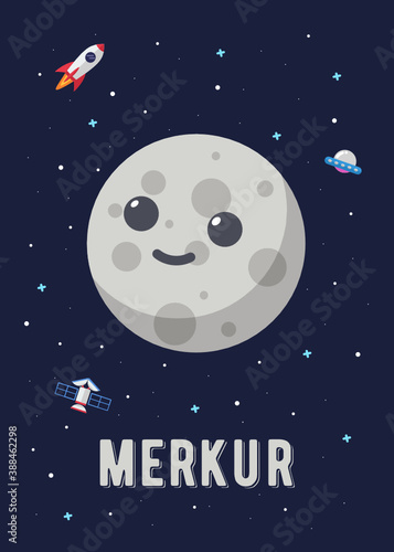 The Merkur Planet Cute Design, Illustration vector graphic of the of the mercury planets in cute cartoon style Wallpaper Mural
