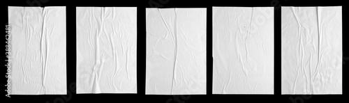 Fotografiet white paper wrinkled poster template , blank glued creased paper sheet mockup