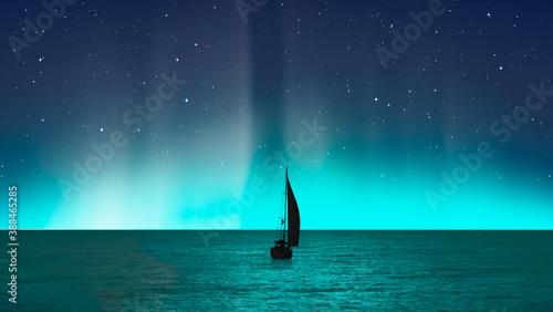 Fotografia Sailing luxury yacht along the route over dark sea - Northern lights aurora bore