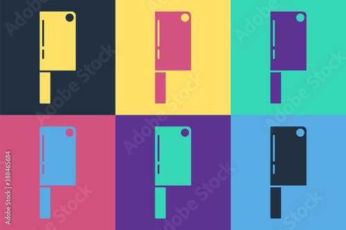 Pop art Meat chopper icon isolated on color background Canvas Print