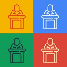 Pop Art Line Speaker Icon Isolated On Color Background. Orator Speaking From Tribune. Public Speech. Person On Podium. Vector.