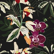 Seamless Design Pattern Arranged With Orchids Flower, Exotic Leaves And Branches. Beautiful Floral Print. Vintage Black Background.