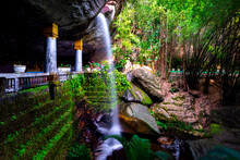 Landscape Photo The Small Waterfall In Wat Tham Heo Sin Chai Haewsindhuchai Cave In Ubon Ratchathani Province Of Eastern Thailand.