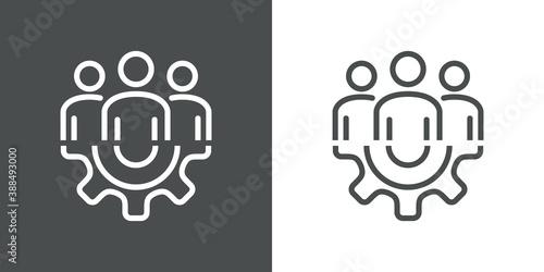 Obraz Trabajo en equipo. Icono lineal grupo de personas en engranaje en fondo gris y fondo blanco - fototapety do salonu