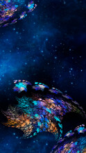 Abstract Fractal Fantastic Space Background With Alien. Vertical Banner.