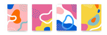 Background Pattern, Abstract Color Forms, Vector Boho Doodle And Pop Art Creative Covers Design. Modern And Retor Minimalism Trendy Pattern Background With Abstract Lines And Popart Color Shapes