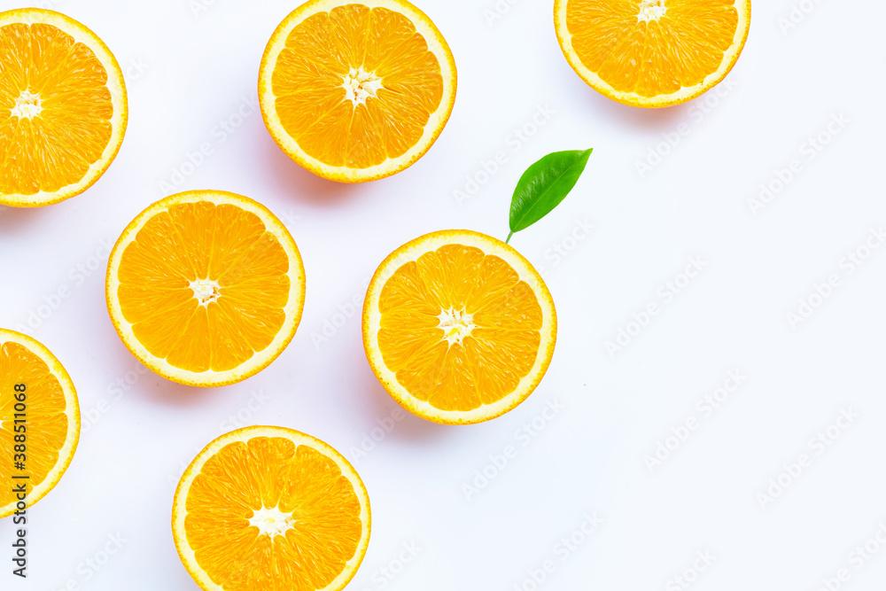 Fototapeta High vitamin C, Juicy and sweet. Fresh orange fruit on white.