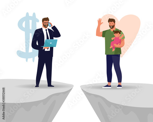 Fototapeta A man chooses between family and work. The problem of male priorities between career and family, business or health. Flat vector illustration. obraz