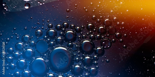 Fotomural abstract bubbles in colorful liquid panoramic format