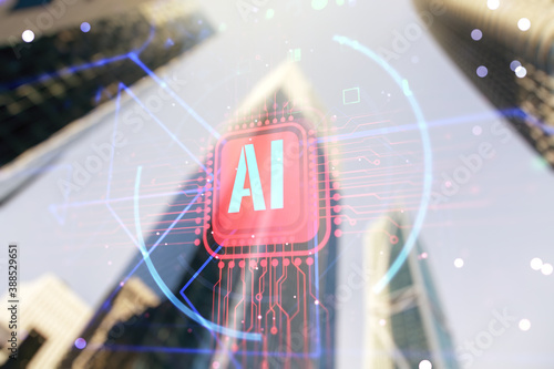 Double exposure of creative artificial Intelligence abbreviation hologram on blurry cityscape background Wallpaper Mural
