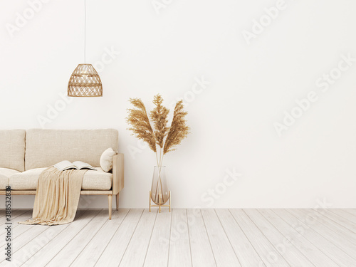 Fototapeta Living room interior wall mockup in warm tones with beige linen sofa, dried Pampas grass, woven basket lamp and boho style decoration on empty wall background