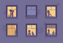 Windows Of A Night Time House With Neighbours. Multi-storey Building, People Spending Time Staying Home To Enjoy Safe Comfortable Private, Personal Life Indoors. Vector Flat Style Cartoon Illustration