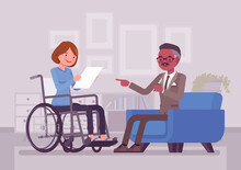 Disability Insurance, Medical Support For Disabled Wheelchair Woman. Sick, Injured Worker Social Help And State Compensation, Information Or Filing For DI Paper. Vector Flat Style Cartoon Illustration