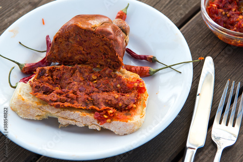Papel de parede spicy salami called nduja typical of the cuisine of the Calabria region in Italy